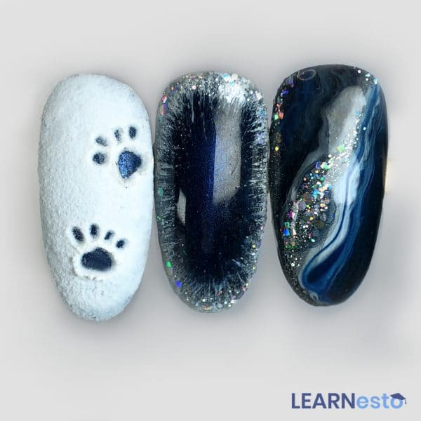 nail art tutorial frosted glass marble snow 3d effect glitter luxio dazzle cat eye gel polish